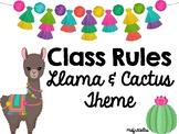 Class Rules- Llama and Cactus Theme
