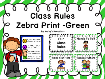 Class Rules Or Posters -Zebra Print Green