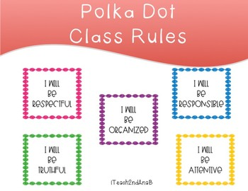 Class Rules Polka Dot Decor