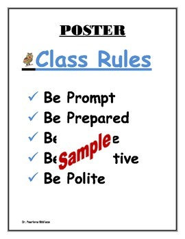 Back-To-School Classroom Rules Poster All Grades