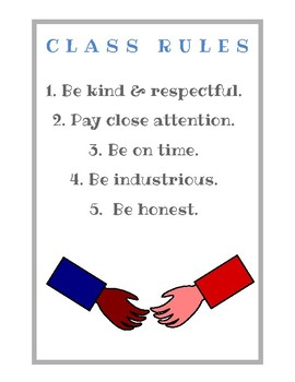 Class Rules Poster (5 basic expectations)