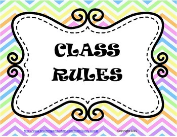 Class Rules Poster, Chevron Poster