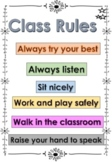 Class Rules Poster - First Day of School - ESL - Kindergaten