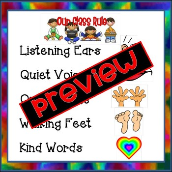 Classroom Rules Poster / Pre-K and Special Education