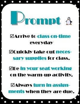Class Rules Poster Set 5 Ps Black White Polka Dot Penguin Theme with Cloze Notes