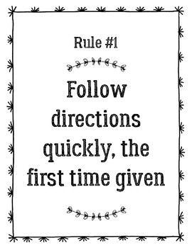 Class Rules Poster-Whole Brain Teaching
