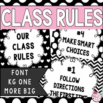 Editable Classroom Rules Posters (Black and White)