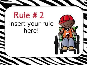 Class Rules Posters - Editable - Zebra Print- Melonheadz version