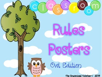 Class Rules Posters - Owl Theme