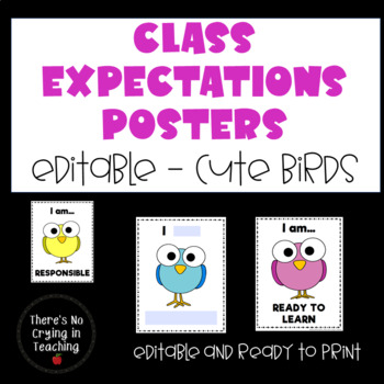 Class Rules Posters (Editable) I Am Statements: Cute Birds