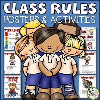 Class Rules Posters and Student Activity Sheets {Editable}