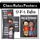 Class Rules Posters   Chalkboard Theme