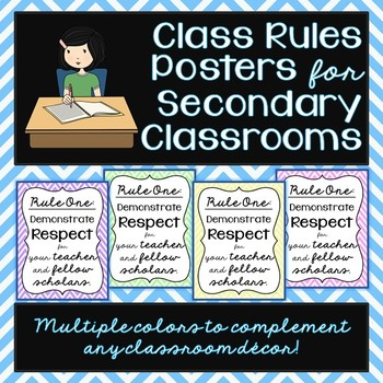 class rules posters for secondary students by teacher voice tpt