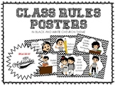 Class Rules Posters (in Black and White Chevron theme)