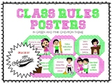 Class Rules Posters (in Green and Pink Chevron theme)