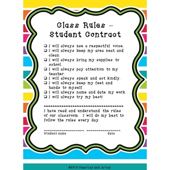 Class Rules with Signs Student Contract and Parent Letter Bold and Bright Theme