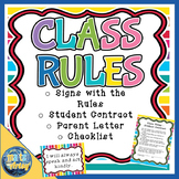 Class Rules with Signs Student Contract and Parent Letter