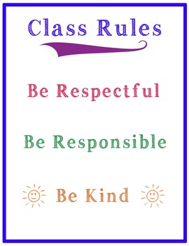 Class Rules Simple- Printable