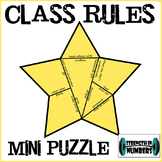 Class Rules Star Mini Puzzle Interactive Notebook First Day of school
