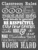 Class Rules Subway Art Chalkboard Poster