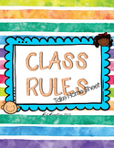 Class Rules Take Home Sheet Set