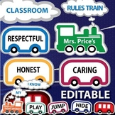 Classroom Rules Train Editable - Word Wall, Vocabulary, or Decor