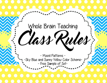 Class Rules (Whole Brain) - Sky Blue and Sunny Yellow Colo