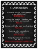Class Rules With Hashtags - Chalkboard