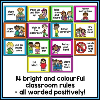 Class Rules and Good Listening Display {Rainbow Theme}