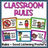 Classroom Rules Posters Kindergarten | Rainbow Theme