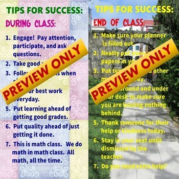 Class Rules and Student Success Strategies for Secondary Classrooms