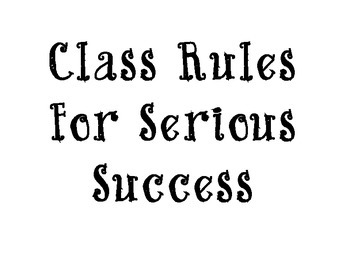 Class Rules for Success