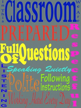 Class Rules subway art, printable poster, 18X24