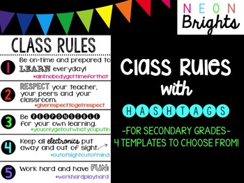 Class Rules with Hashtags - Secondary Edition