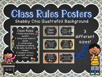 Class Rules with Shabby Chic Background