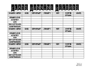 Class Running Records Templates