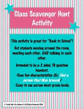 Student/Class Scavenger Hunt Activity- Great for Back to School