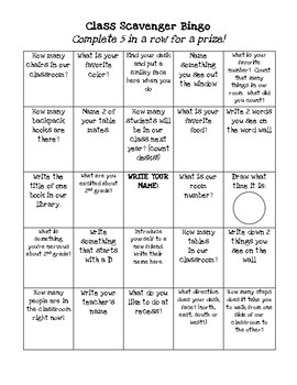 Class Scavenger Hunt Bingo - Back to School Night