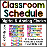 Schedule Cards with Digital and Analog Clocks - Bright Rainbow Theme