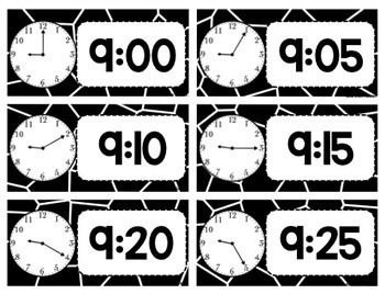Class Schedule Cards and Clocks - Black and White Theme