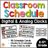 Schedule Cards with Digital and Analog Clocks - Black and White Theme