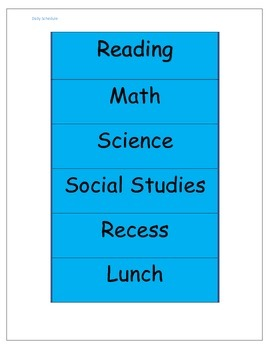 Class Schedule Bright Blue with Black Letters