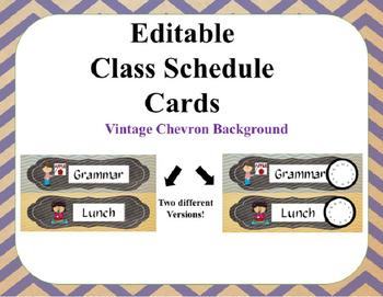 Editable Class Schedule Cards-Vintage Chevron