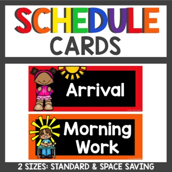 Class Schedule Cards  Black and Primary Colors