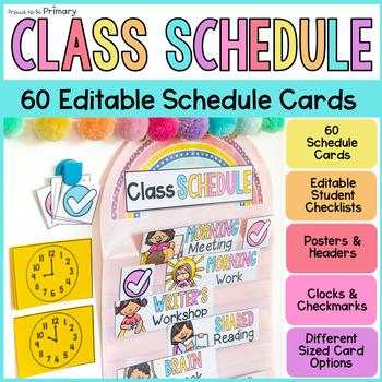 Class Schedule Cards EDITABLE