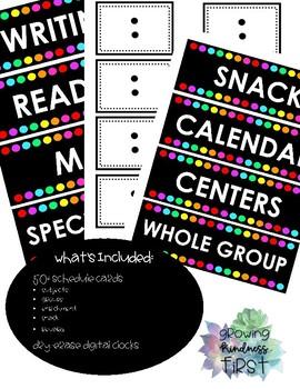 Class Schedule Cards Black & Brights