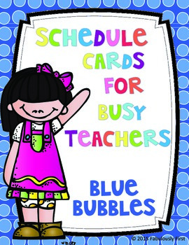 Class Schedule Cards (Bubbles Theme)
