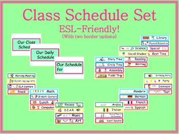 Class Schedule Cards  -  ESL-Friendly!