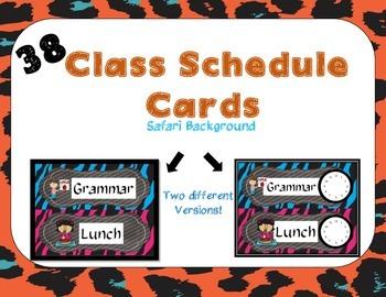 Class Schedule Cards-Safari Background