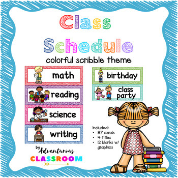 Class Schedule Cards Scribble Theme